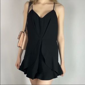 Black Romper With Ruffles Mustard Seed